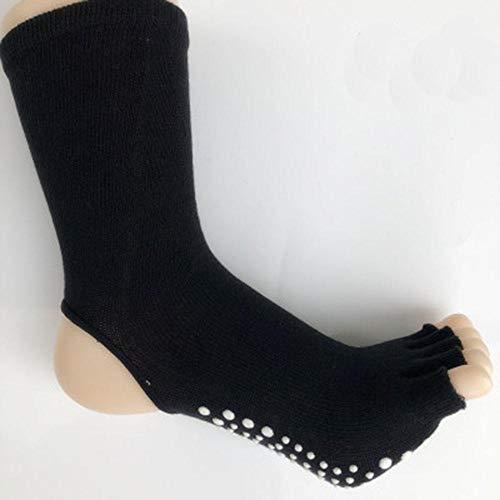 JKCTOPHOME Calcetines Antideslizantes Yoga,Calcetines de Tubo de algodón de rocío y Yoga Expuestos-Negro_10PCS,para Entrenamiento en casa y Deportes