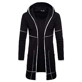 MODOQO Men s Hoodies Long Trench Coat Casual Cardigan Jacket Outwear Autumn  Black,L