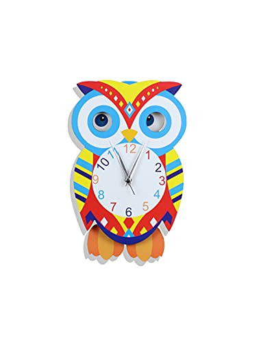 Reloj de pared de búho con patas y ojos oscilantes, decoración de pared para habitación infantil, aula, salón | reloj de...