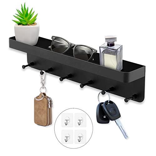 Schlüsselbrett mit Ablage, Schlüsselhalter Schwarz, Selbstklebend Schlüssel Organizer, Schlüssel Aufbewahrung Schlüsselboard mit 6 Haken & Schlüsselleiste für Wand Deko Wohnzimmer Schlafzimmer KüChe