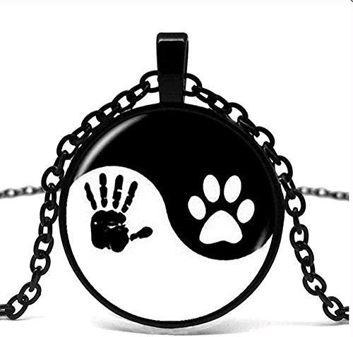 huangxuanchen co.,ltd Collar Yin y Yang, Colgante con Estampado de Garra para Mascotas, Huella de Mano, Tai Chi, Amante de los Animales, Amante de Las Mascotas, Gato, Perro, cumpleaños