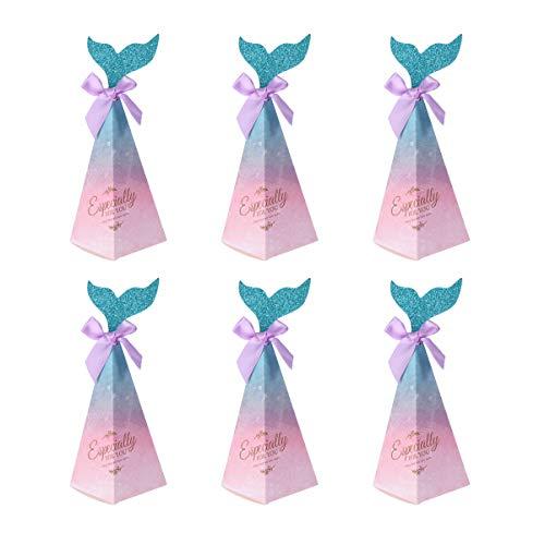 Amosfun 10 stücke Meerjungfrau Party Boxen Meerjungfrau Geschenk Taschen Süßigkeiten Papier Box für Kinder Party Baby Shower Meerjungfrau Party Supplies