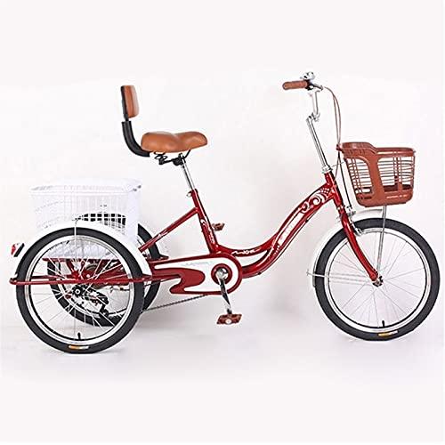 ZCXBHD Triciclo para Adultos 3 Ruedas con Cestas de 20 Pulgadas Triciclo de Triciclo de Crucero con Carrito para Compras de Deportes Al Aire Libre para La Tercera Edad Mujeres Hombres (Color : Red)
