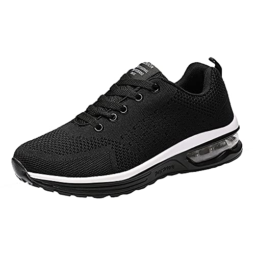 Zapatillas de deporte unisex de malla de color puro con cordones antideslizantes y cómodos para correr, Black, 41 EU