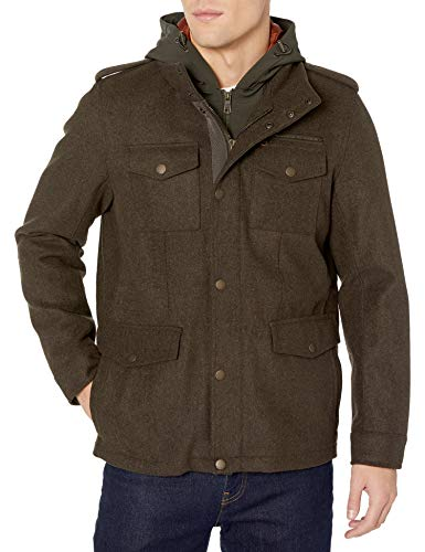 Tommy Hilfiger Men's Technical Wool Blend Four Pocket Military Jacket with Soft Shell Hood, Brown Melange, M