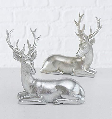 Steinfiguren Giessen Hirsch Paar LIEGEND Silber antik H15cm 2er Set Dekoration Weihnachten Hirsch Hirsche Rehe VON DEKOWELT