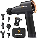 Pulse8 Massage Gun Deep Tissue - Percussion Muscle Massager Gun - Deep Tissue Massage Gun for Athlete Recovery - Handheld Body Massager for Sore Muscles & Stiffness - Quiet 5 Speeds + 6 Attachments