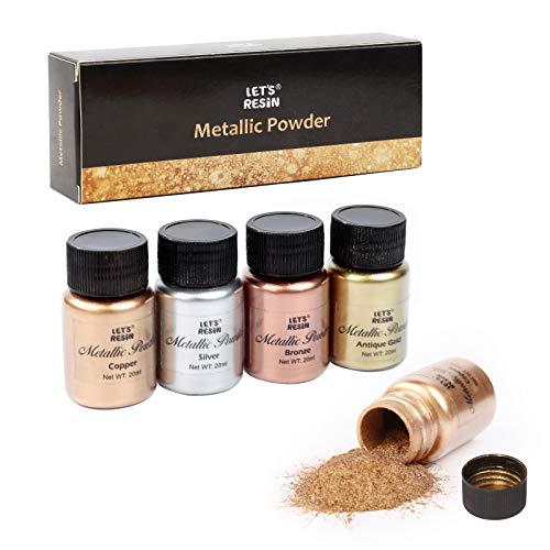 LET'S RESIN Metall-Pigment-Pulver, 5 Farben, Kunstharz, Metall, glänzendes Pulver, jede Flasche 20 g Kupferpulver für Epoxidharz-Färbung, Polymerton und andere Bastelarbeiten.