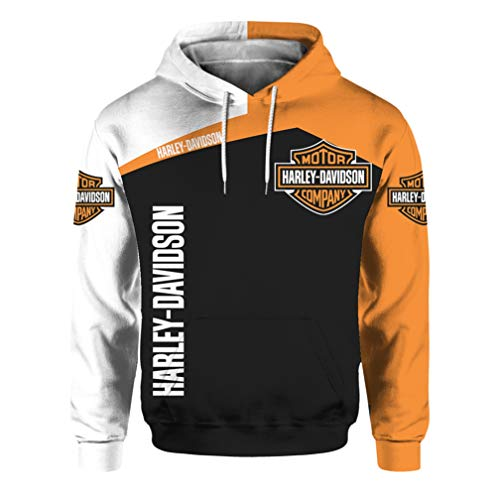 Unisex Langarm Hoodie 3D Digital International Harley Davidson Logo Print Sweatshirt Lässiges Sweatshirt (1,XL)