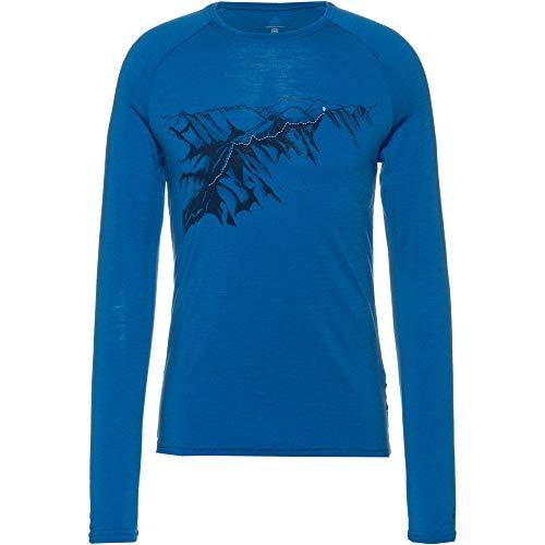 Odlo Alliance Longsleeve Homme-Manches Longues, Mykonos Blue-Imprimé sur Fond de Teint FW19, L