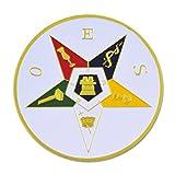 Order of the Eastern Star Round Masonic Auto Emblem - [White & Gold][3'' Diameter]