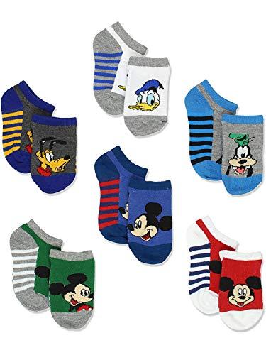 Mickey Mouse Little Boys 6 pack Socks (Shoe: 4-7 (Sock: 2-4), Stripes No Show)