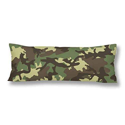 InterestPrint Green Camouflage Camo Military Us Army Marine Corp Body Pillow Covers Case Protector Rectangle with Zipper 21x60 Twin Sides for Sofa Decorative