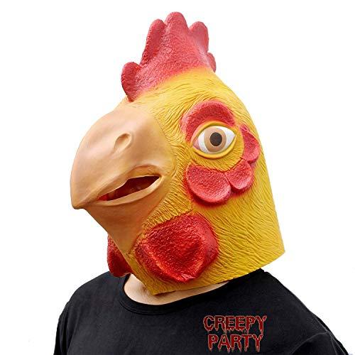 CreepyParty Festa in Costume di Halloween Maschera in Lattice a Testa di Animale Gallo Pollo