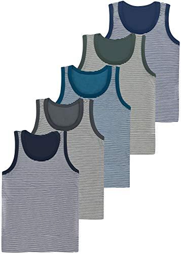 LOREZA ® 5 Pack Jungen Streifen Unterhemden Tank Top (92-98 (2-3 Jahre), Modell 1-5 STÜCK)
