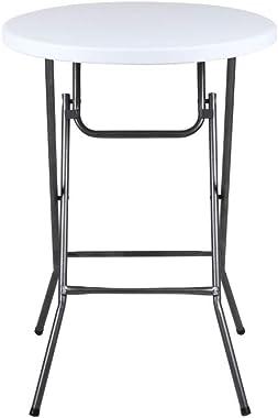 "Phoenix Home Granite Round Plastic Bar Height Folding Table, 32"", White"