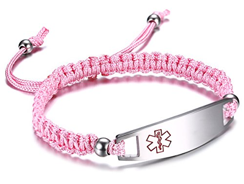 JF.JEWELRY Pink Nylon Braided Rope Medical Alert ID Bracelet for Boys and Girls,Free Engraving