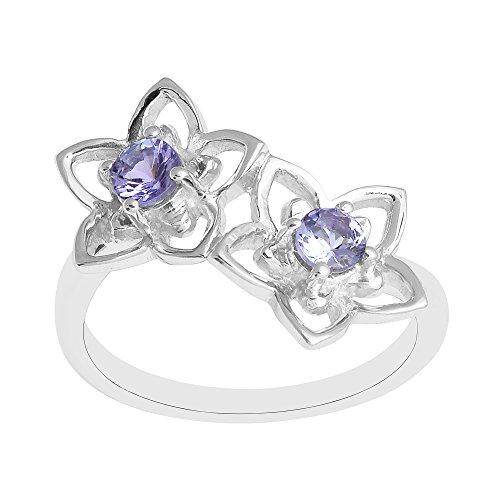 Shine Jewel Anillo de Mujer tanzanita Natural Floral 925 Joyas de Plata esterlina