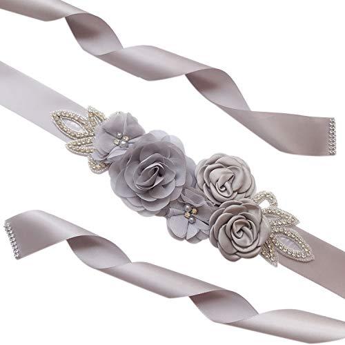 Amorar Cinturones de Rhinestone Vestido Nupciales Fajas Cinta de Raso Flores y Perlas Decoración