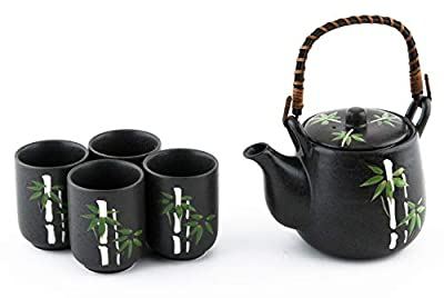 Japanese Asian Lucky Bamboo Design Tea Set Ceramic Teapot with Strainer, Rattan Handle and 4 Tea Cups