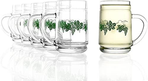 Stölzle Oberglas Robuste Weinkanne 0,25 l 6er Set mit Weinlaub Dekor I Hochwertige Trinkgläser mit Henkel 6 Stück für Rotwein Weißwein I Spritzerglas 250ml spülmaschinenfest & bruchsicher