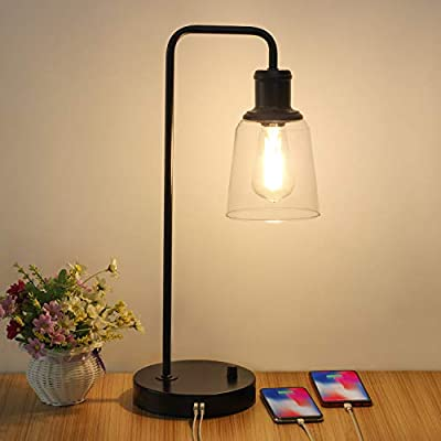 Industrial Table Lamp, Vintage Nightstand Lamp with Dual USB Ports Antique Office Lamp Glass Shade Metal Desk Reading Lamp for Bedroom, Living Room, Dorm, 6W 2700K Dimmable LED Edison Bulb Included