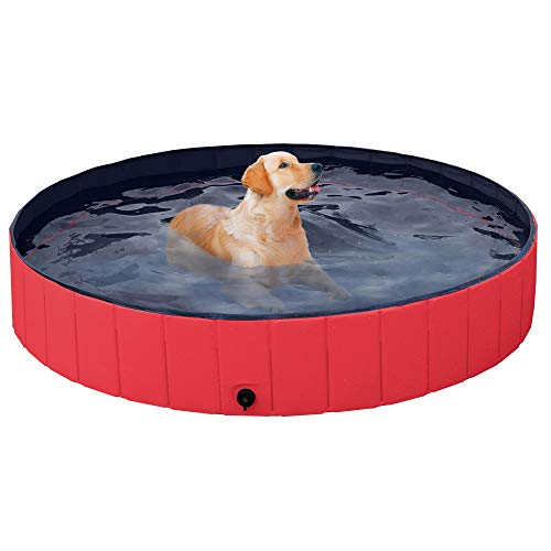 YAHEETECH Red Foldable Hard Plastic Dog Pet Bath Swimming Pool Collapsible...