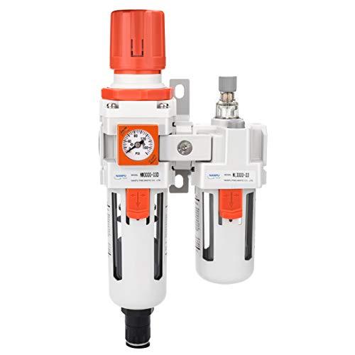 NANPU 3/8' NPT Embedded Gauge Compressed Air Filter Regulator Lubricator Combo Water/Oil Trap Separator - 0-180 psi Gauge, Auto Drain,Poly Bowl, Bracket