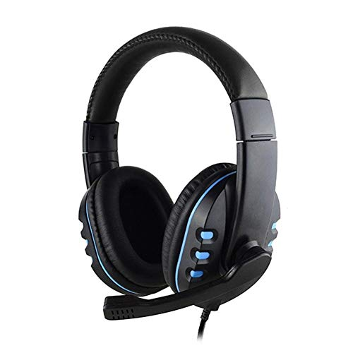 Chef Turk Auricular con Cable Estéreo, Auriculares For Juegos De Ordenador, Un Micrófono Antirruido Ajustable, For For PS4, Xbox One (Color : Blue)