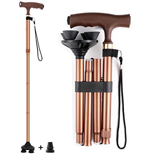 Wsobue Bastón plegable para hombres y mujeres, plegable, ayuda a la movilidad, bastón para caminar con luz LED ajustable (marrón actualizado)