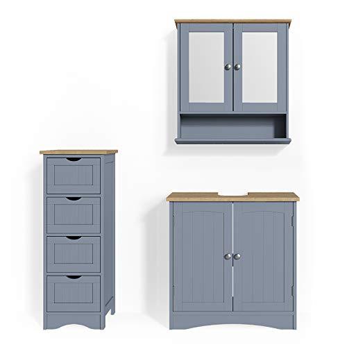 Vicco Badmöbel Set Bianco Spiegelschrank Waschtischunterschrank Badschrank Badezimmermöbel Set im Landhausstil (Grau, Set 3)