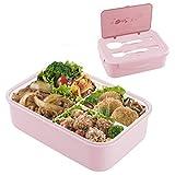 N/S Boîte à Bento Étanche pour Enfants Adultes, Lunch Box1000 ML - avec 3 Compartiments et Ensemble de Couverts, sans BPA, Convient au Micro-Ondes et au Lave-Vaisselle (Rose)