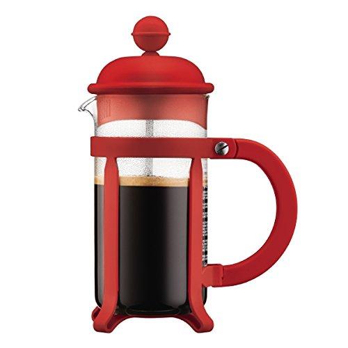Bodum Java Kaffeebereiter 3 Tassen, Glas, Rot, 7.5 x 13.5 x 18.9 cm