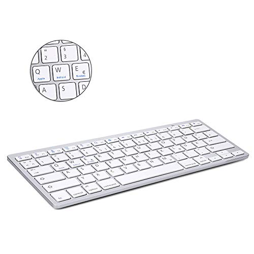BORIYUAN Ultra dünn Bluetooth 3.0 Wireless Tastatur (Qwertz) Kabellose Deutsche Keyboard, Kompatibel mit Allen iOS, Android, Mac, und Windows Geräten - (Weiß)