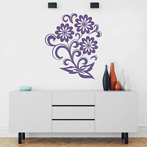 yaonuli Flor Minimalista Vinilo Arte Vector Etiqueta de la Pared Flor para el hogar y la Tienda de decoración 91x107cm