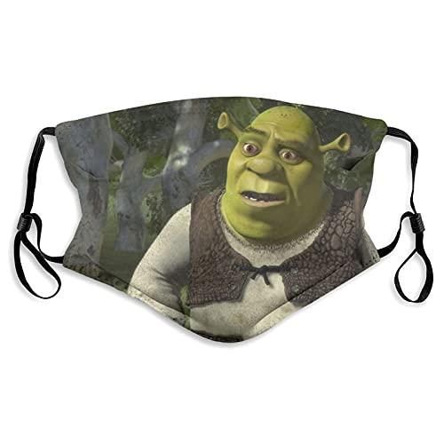 Shrek - Mascarillas faciales lavables reutilizables de algodón antipolvo, protección bucal con bucles ajustables para las orejas para adultos y hombres