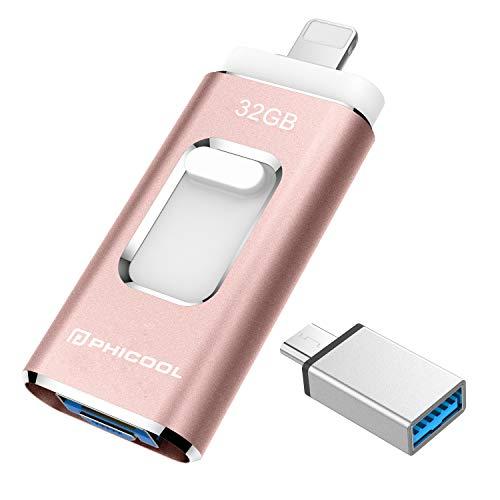 USB Stick Handy 32GB USB 3.0 Speicherstick PHICOOL Externer Speicher Speichererweiterung für IOS 8.0+ System/OTG Android/USB C Android-Gerät/PC Tablet Wie iPhone Samsung Huawei -- Rosa