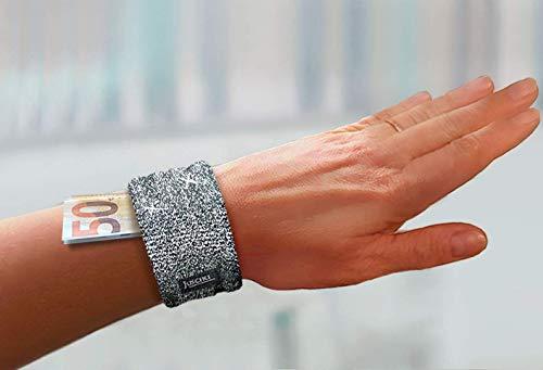 eleganter Armreif Safe in silbernem Glitzer (schwarz gold Pailletten) – edle mini Armbandtasche fürs Handgelenk - Tasche beim Tanzen Sport Festival Urlaub Geldbörse Portemonnaie Tanztasche Damen