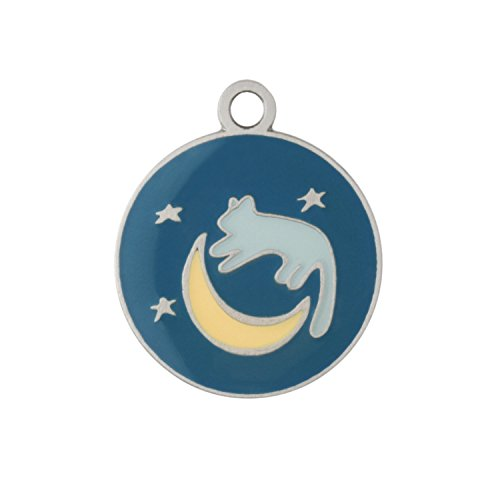 DogIDs Personalized Cat or Kitten Identification Tag, Custom Laser Engraved Single Sided Stainless Steal ID Tag, with S-Hook and Split Ring - Cat, Moon, & Stars, 7/8'