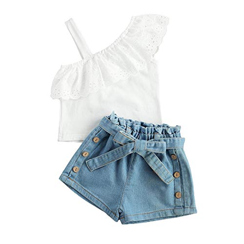 Toddler Kids Baby Girl Summer Short Sets Shirts Top Short Jeans Pants Fashion Clothes (One Shoulder Shirt+Denim Shorts Set,3-4T)