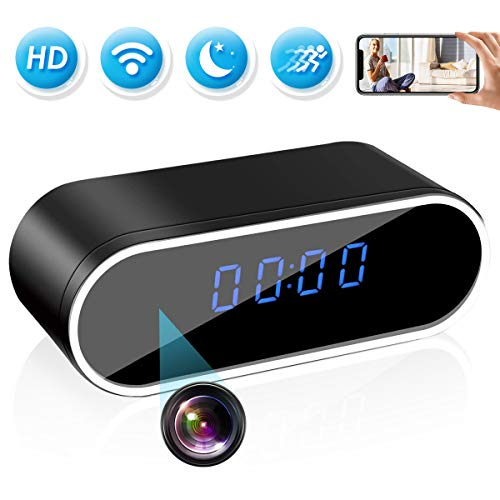 Hidden Spy Camera Clock,HD 1080P WiFi Camera Alarm Clock with Night Vision and Motion Detective,Monitor Video Recorder Nanny Cam for Home Office Security Cameras Hidden