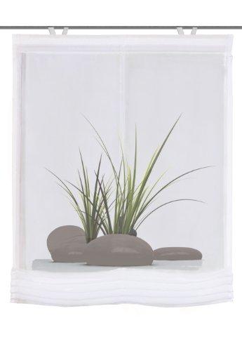 Home Fashion 82833-768 Raffrollo Digitaldruck Sao Paulo mit Haken, Voile, 140 x 80 cm, grün
