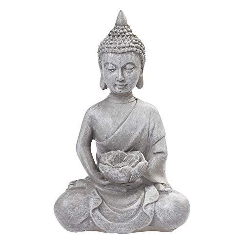 Crafty Capers 10cm Grey Buddha Figure Holding Lotus Flower for Miniature Zen Gardens