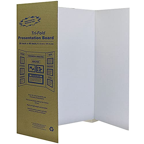 White Tri-Fold Presentation Board 28' X 40' Display Exhibition Board Lightweight and Portable with Smooth Surface Great Business presentations (Pack of 2) - by Emraw