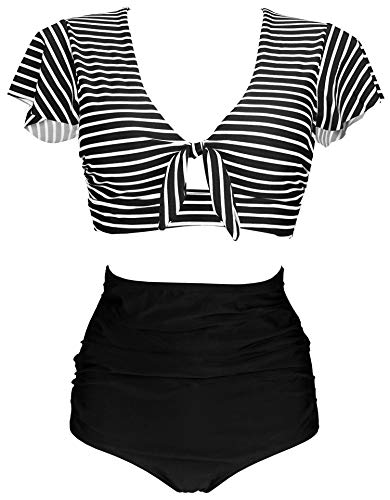 COCOSHIP Black & White Striped Striae High Waist Ruching Bikini Set Tie Front Short Sleeve Top Ruffle Straps Bath Swimwear 14