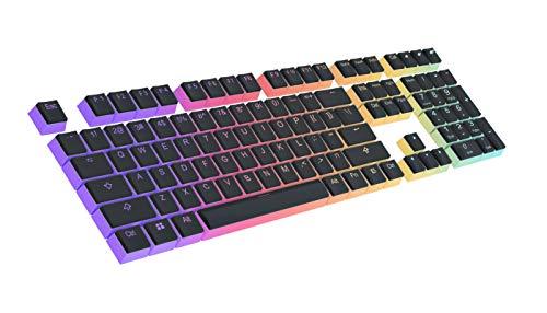 HUICCN PBT Tastenkappen Set für Gaming Tastatur, keycaps 108 Double Shot transluzente OEM Profil Tastenkappen hintleuchtet, für 60prozent/87 tkl/104/108 Cherry MX Schalter mechanische Tastaturer (Schwarze)