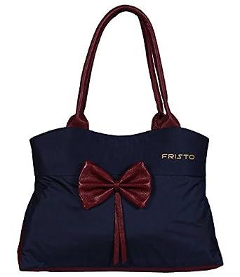 Fristo Women's Handbag (FRB-200_Blue & Maroon)