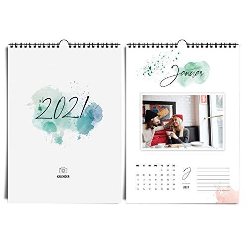 Kalligraphie & Aquarell A4 Fotokalender 2021 Happy Splash I kreativer, hochwertiger Kunst- und Bastelkalender im Watercolor Design Idealer Jahreskalender zum selbst gestalten, basteln & verschenken