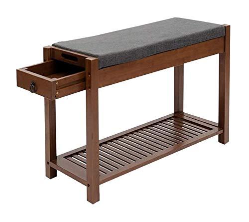 lcy Banco de Entrada de Zapatos, Zapatos de bambú del gabinete con Asiento Acolchado y del cajón (Color: Simple-2)