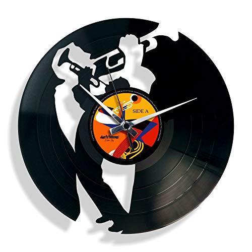 DISCOCLOCK - DOC035 - Jazz - Wanduhr aus Vinyl Schallplattenuhr mit Trompete Jazz-Musiker Motiv Upcycling Design Uhr Wand-Deko Vintage-Uhr Retro-Uhr Made IN Italy 24 Uhr!